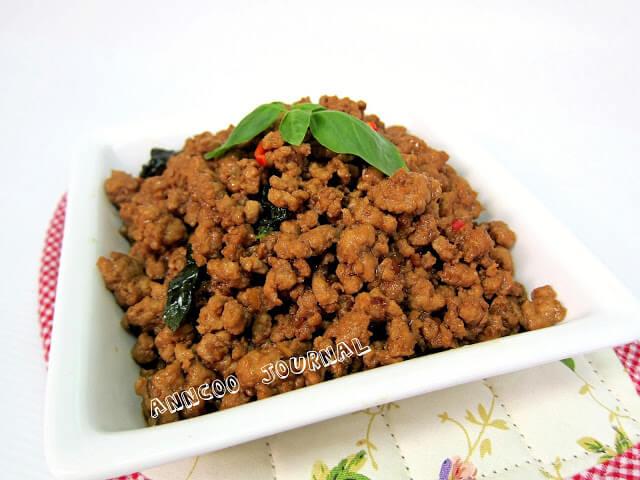 stir fried pork with basil leaves