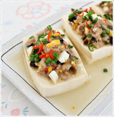 Steamed Tofu with Century Egg and Salted Egg