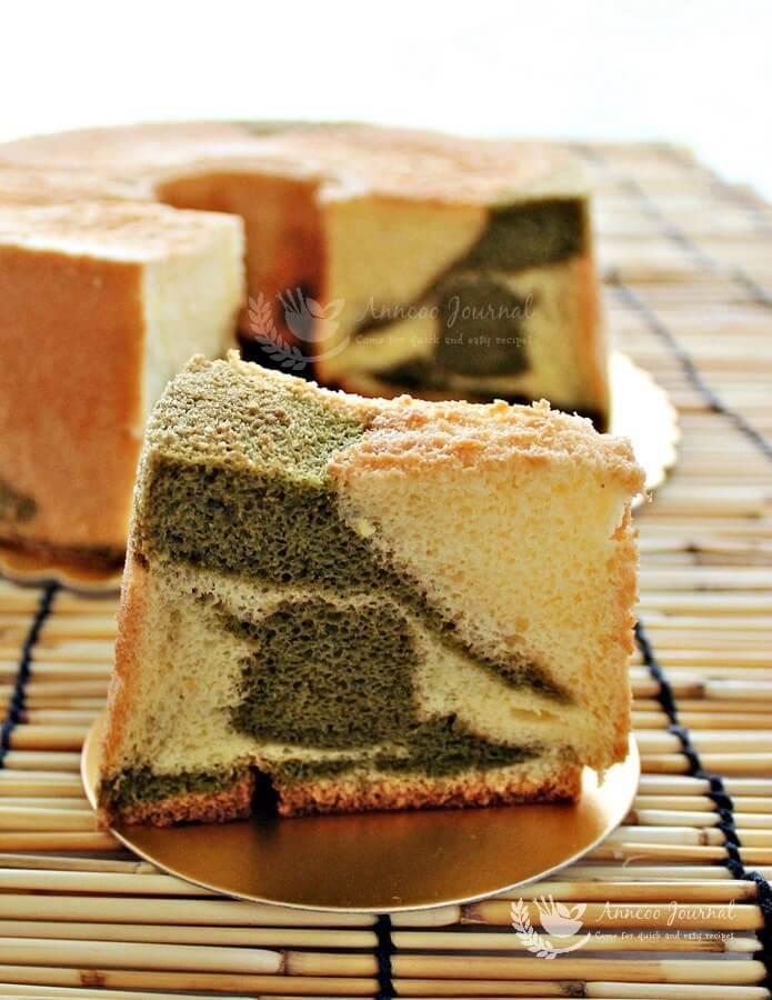 marble matcha chiffon cake