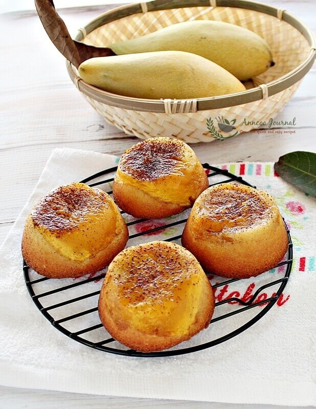 upside down mini mango cakes