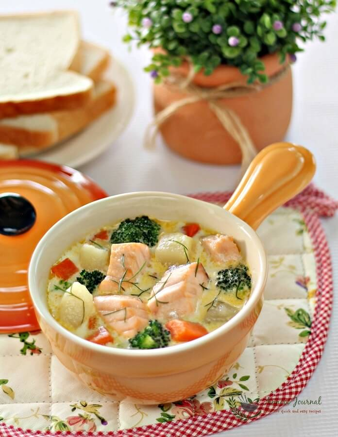 fish stew with salmon and vegetables