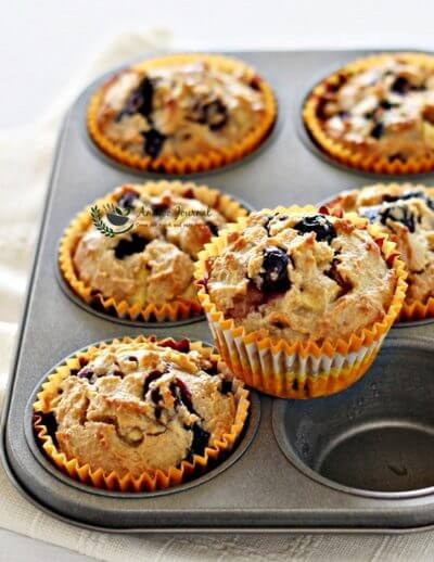 Flourless Blueberry Apple Muffins 无麸蓝莓苹果玛芬