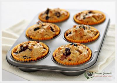 Flourless Blueberry Apple Muffins 无麸蓝莓苹果满芬