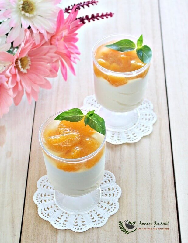 orangepeach no bake cheesecake in glass
