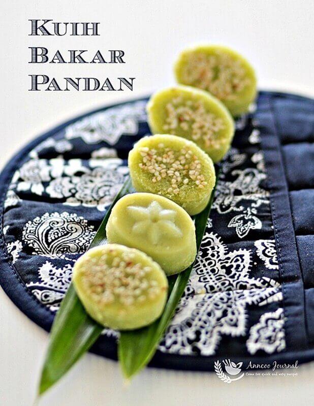 kuih bakar pandan (baked pandan cake)
