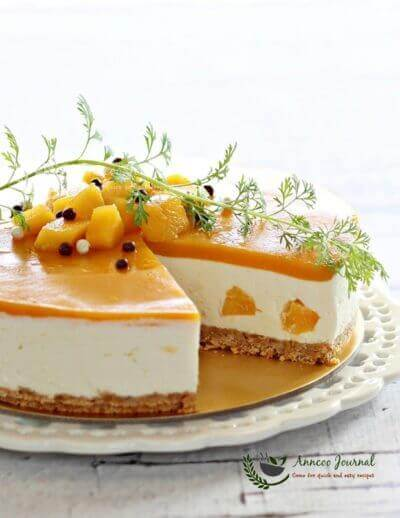 No-Bake Mango Yogurt Cheesecake 免烤芒果优格芝士蛋糕