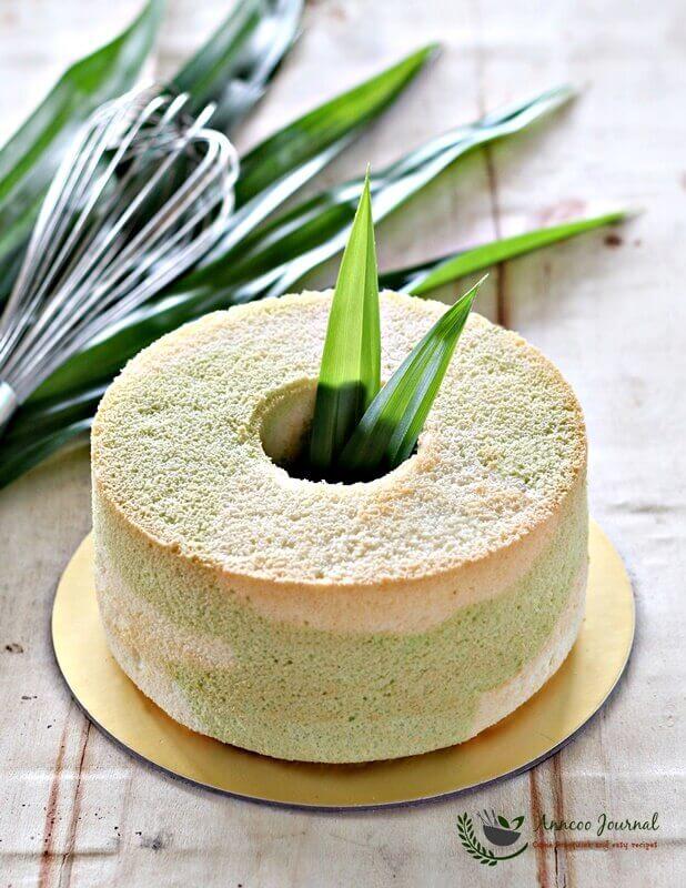 pandan marble chiffon cake