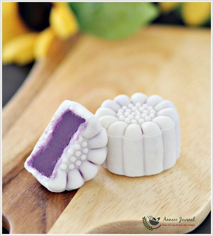 purple sweet potato snowskin mooncake -1