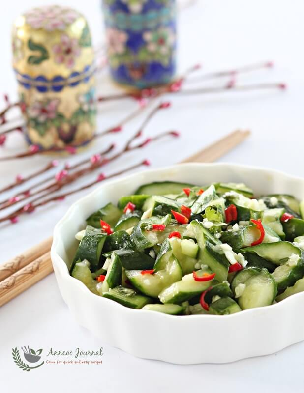 mashed cucumber salad