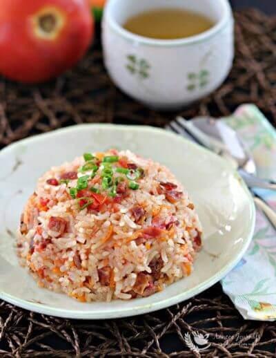 Bak Kwa (pork jerky) Tomato Rice 肉干番茄饭
