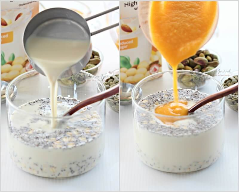 no cooked overnight oats with mango - 1b