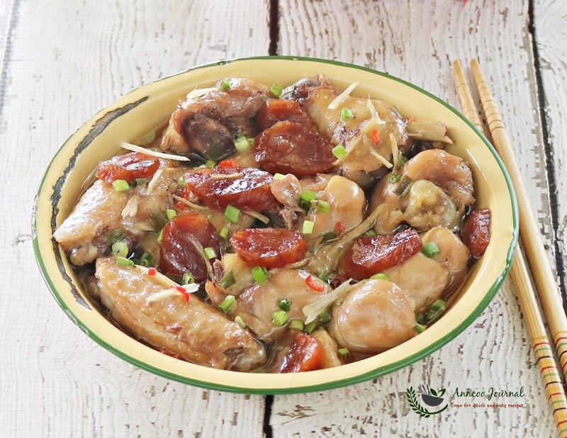 steamed chicken with sausage 050