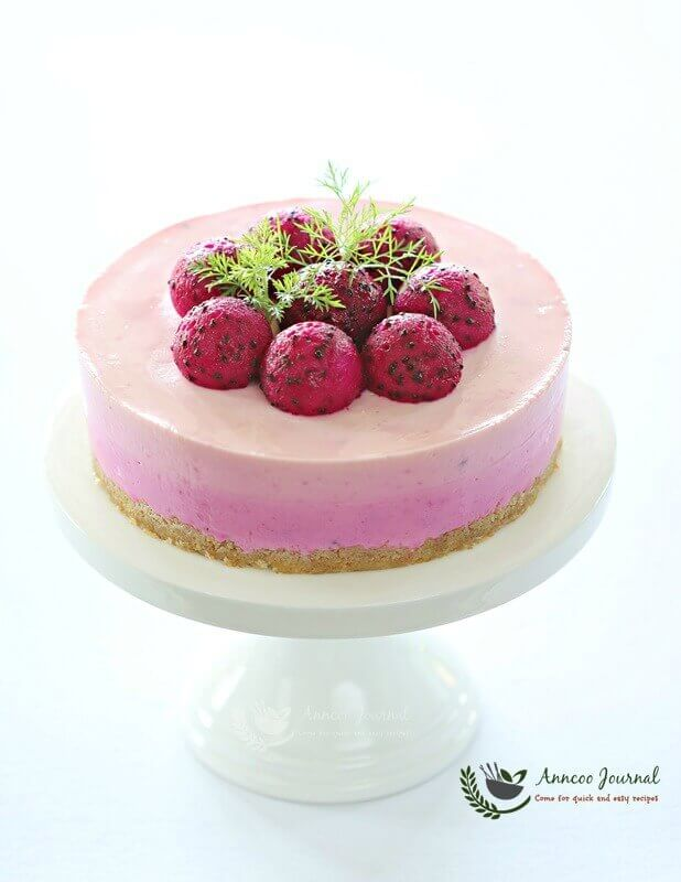 red dragon fruit cheesecake