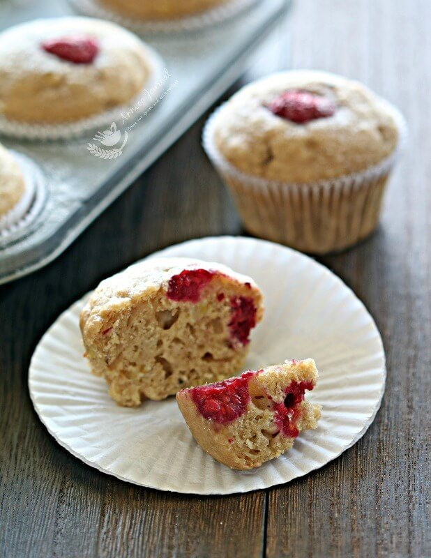 coconut and raspberry banana muffins
