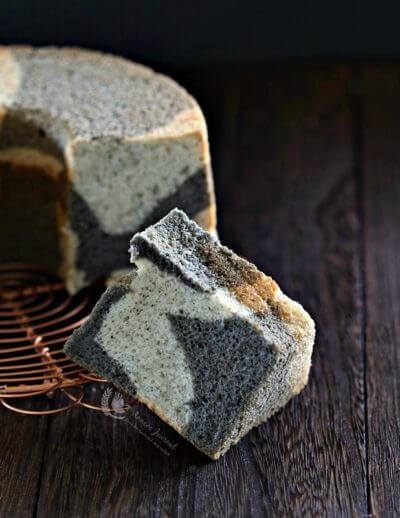 Black Sesame Marble Chiffon Cake 黑芝麻大理石戚风蛋糕