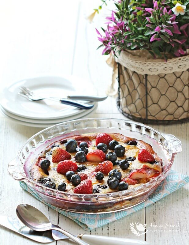oven baked peach and berry pancake