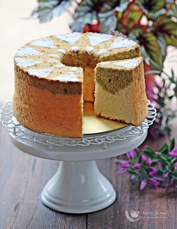 honey matcha chiffon cake