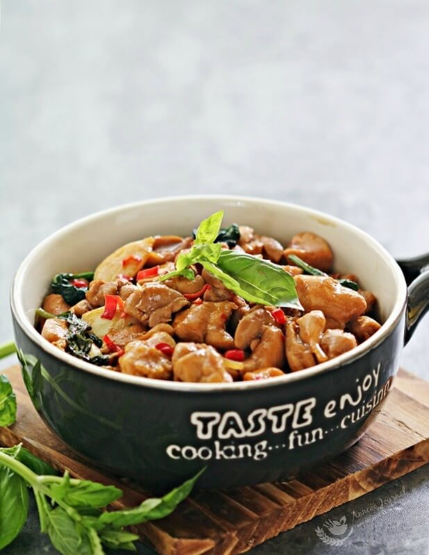 stir fried chicken with basil