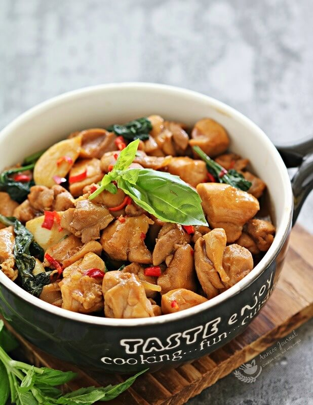 stir fried chicken with basil