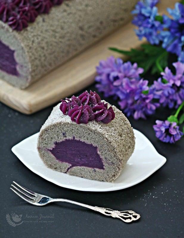 Awe Inspiring Purple Sweet Potato Cake Roll Anncoo Journal Personalised Birthday Cards Veneteletsinfo