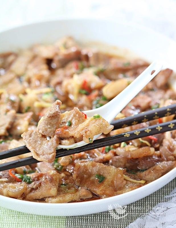 steamed shrimp paste with pork belly