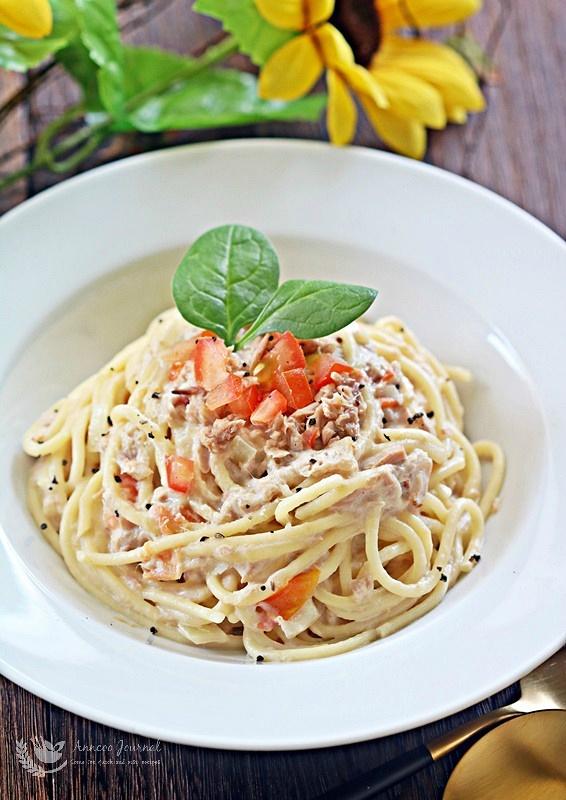 tuna pasta in white sauce