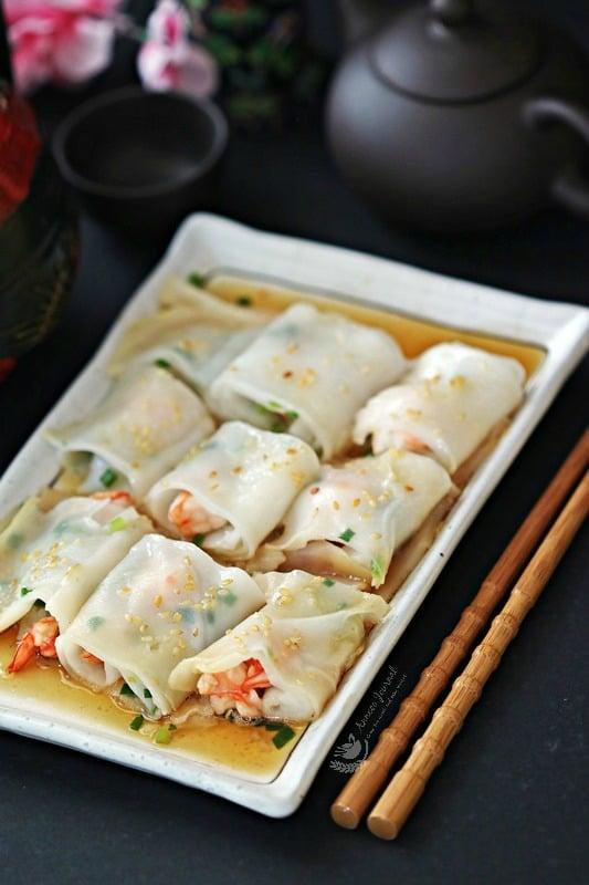 shrimp rice noodle rolls