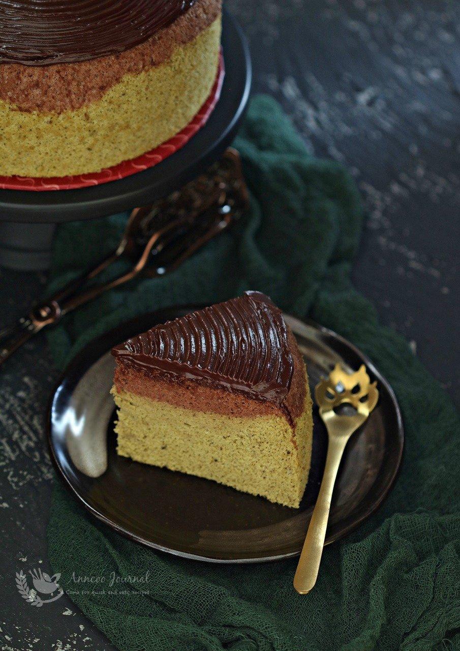 chocolate matcha chiffon cake