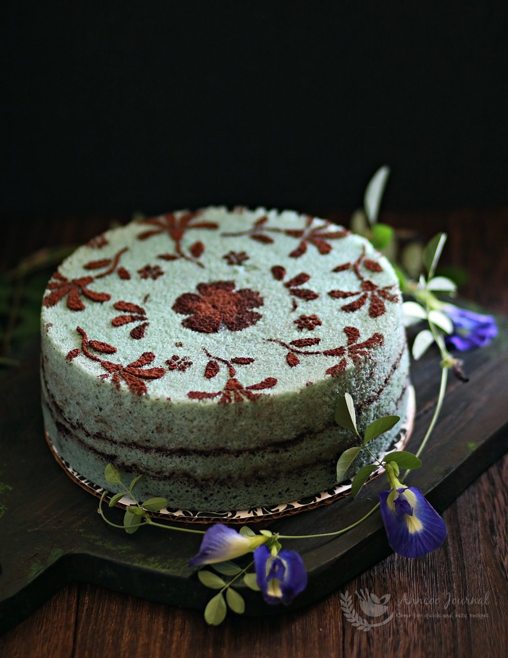 steamed blue pea flower chiffon cake